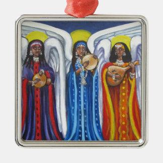 Trio de musique d'ange ornement carré argenté