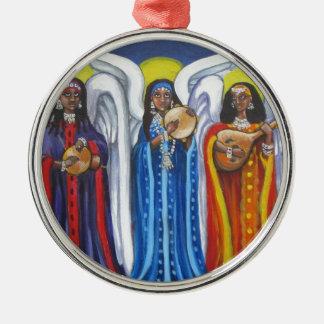 Trio de musique d'ange ornement rond argenté