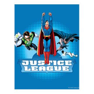Trio de puissance de ligue de justice cartes postales