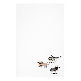 Trio de vache papier à lettre personnalisable