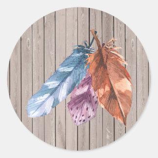 Trio des plumes Brown pourpre bleu Sticker Rond
