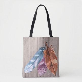 Trio des plumes Brown pourpre bleu Tote Bag