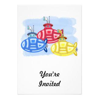 Trio des sous-marins colorés par crayon invitations personnalisables