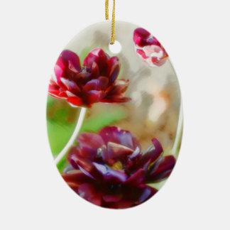 Trio fleurissant de tulipe de pivoine foncée de ornement ovale en céramique