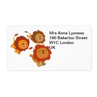 Trio heureux d'étiquette mignon de lions de bande  étiquettes d'expédition