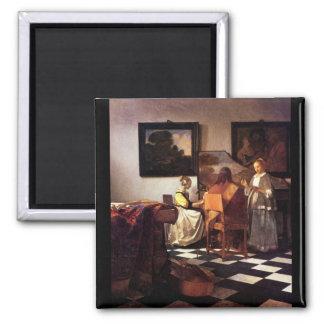 Trio musical par Johannes Vermeer Magnet Carré