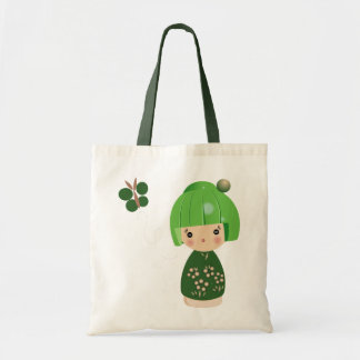 Triplet vert Fourre-tout de Kokeshi Sac En Toile