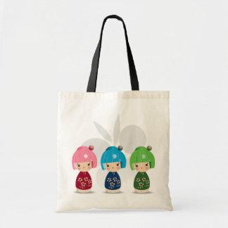 Triplets Fourre-tout de Kokeshi Sacs Fourre-tout