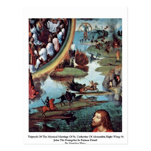Triptyque du mariage mystique de St Catherine Cartes Postales