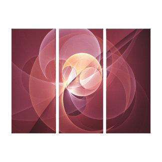 Triptyque moderne abstrait de rose de vin rouge de toiles