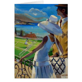 Trish Biddle - tennis sur la Riviera Carte De Vœux