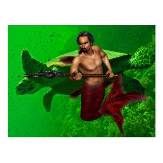 Triton avec la carte postale de tortue de mer