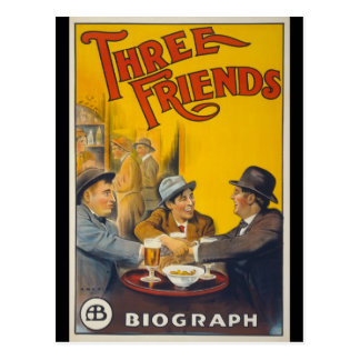 Trois amis carte postale