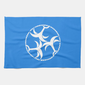 Trois ancres avec la corde serviette pour les mains