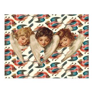Trois anges d'enfant - art vintage de kitsch carte postale