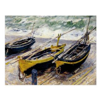 Trois bateaux de pêche par Monet Carte Postale