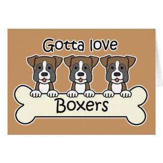Trois boxeurs cartes de vœux