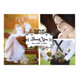 Trois cartes de remerciements rustiques de mariage carton d'invitation  12,7 cm x 17,78 cm