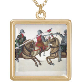 Trois chevaliers à un tournoi, plat 'd'un Histo Pendentif Carré