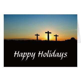 Trois croix des vacances de colline carte de vœux