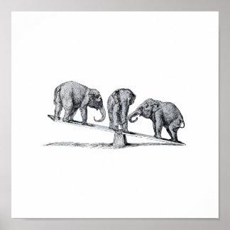 Trois éléphants sur un art animal vintage de bascu poster