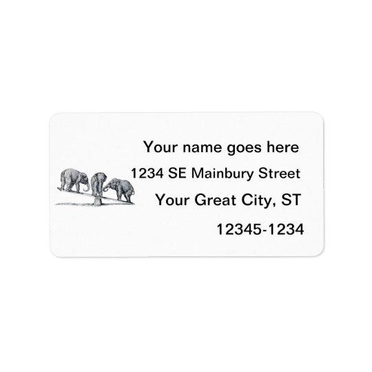 Trois éléphants sur un art animal vintage de étiquette d'adresse