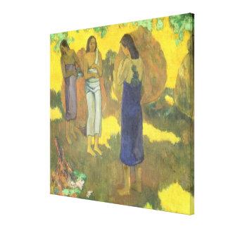 Trois femmes de Tahitian contre un jaune Toiles