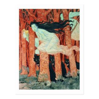 Trois femmes et trois loups (la semaine) carte postale