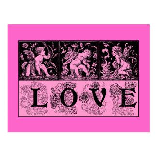 Trois images vintages de conception d'amour de cup cartes postales