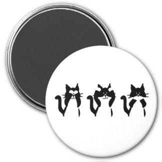 Trois minous sages magnet rond 7,50 cm