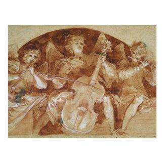 Trois musiciens d'ange carte postale