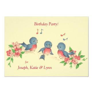 Trois oiseaux de chant invitation de fête carton d'invitation  12,7 cm x 17,78 cm