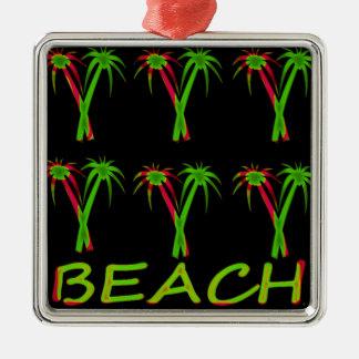 trois palmiers colorés ornement carré argenté