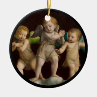 Trois petits anges ou anges ornement rond en céramique