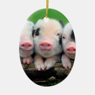 Trois petits porcs - porc mignon - trois porcs ornement ovale en céramique