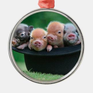Trois petits porcs - trois porcs - casquette de ornement rond argenté