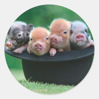 Trois petits porcs - trois porcs - casquette de sticker rond