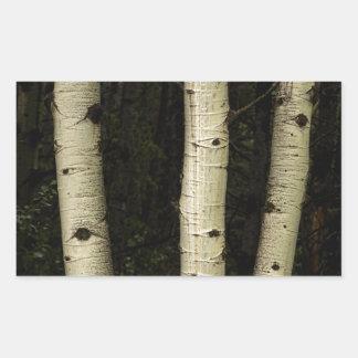 Trois piliers de la forêt sticker rectangulaire