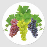 Trois raisins adhésif rond