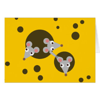 Trois souris espiègles dans la carte de voeux de