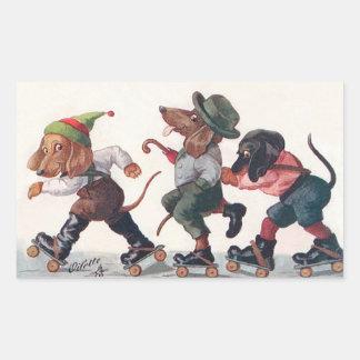 Trois teckels de patinage - un animal drôle sticker rectangulaire