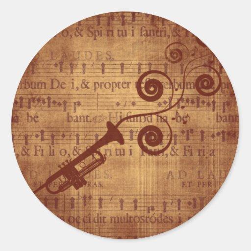 Trompette antique adhésifs ronds