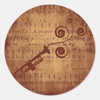 Trompette antique sticker rond
