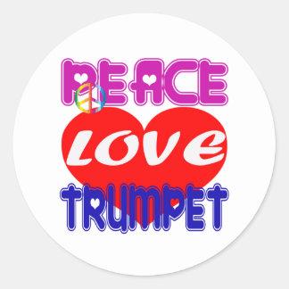 Trompette d amour de paix adhésifs ronds