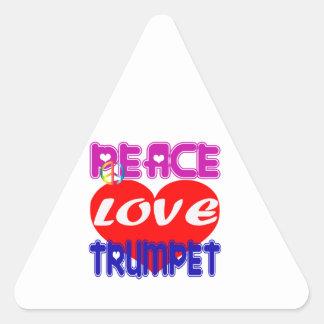 Trompette d amour de paix sticker en triangle