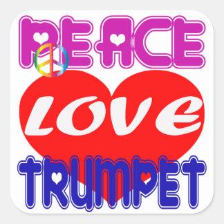 Trompette d amour de paix autocollant carré