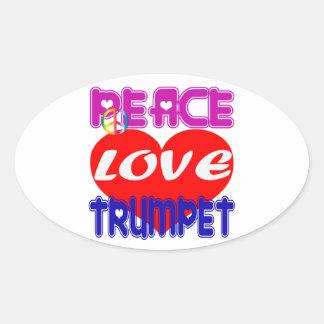 Trompette d amour de paix autocollant ovale