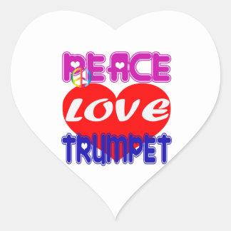 Trompette d amour de paix autocollant en cœur