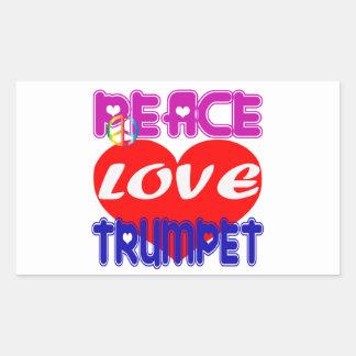 Trompette d amour de paix autocollants rectangulaires