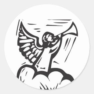 Trompette d'ange sticker rond